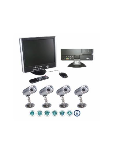 PACK 1 ENREGISTREUR 4 CX + 1 ECRAN LCD + 4 CAMERAS + HDD