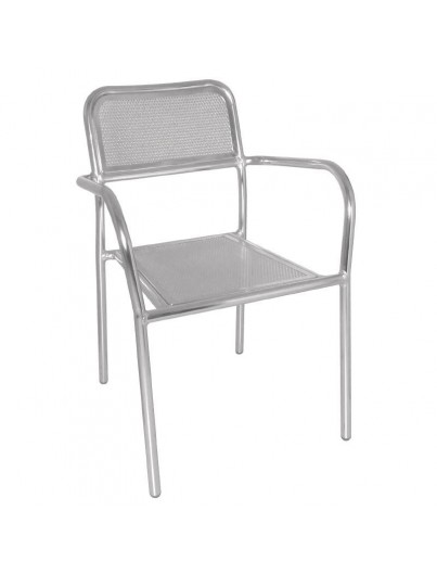 FAUTEUILS EMPILABLES EN ALUMINIUM LOT DE 4