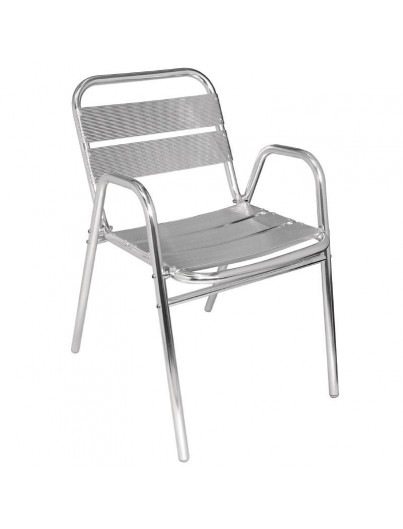 FAUTEUILS EN ALUMINIUM EMPILABLES LOT DE 4