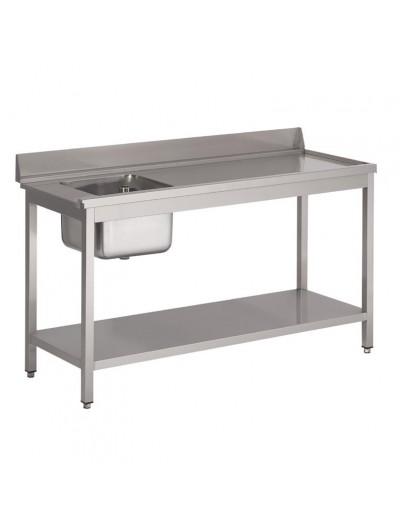 TABLE D'ENTRÉE LAVE-VAISSELLE INOX AVEC BAC ET DOSSERET
