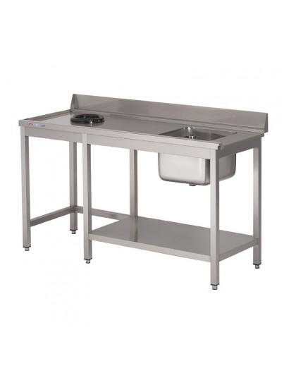 TABLE D'ENTRÉE LAVE-VAISSELLE INOX AVEC BAC ,DOSSERET ET TVO