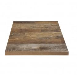 PLATEAU DE TABLE CARRE EFFET BOIS VIEILLI 60/60